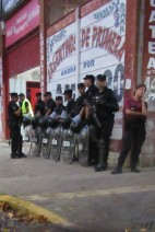 Under the main stand, a row of armed police. With no away fans at most games in Argentina now, I wondered why there was such a heavy presence. I tiptoed around the streets in search of a kiosk to get a ticket.
